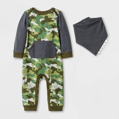 Baby Boys' Dino Camo Critter Bib Romper - Cat & Jack™ Green 3-6M