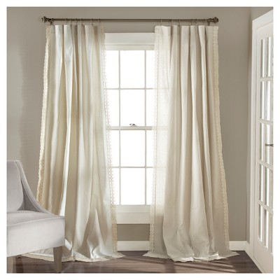 Rosalie Window Curtain Panel Pair Ivory (84 x54 )- Lush Décor
