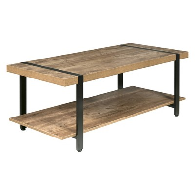 Bourbon Foundry Coffee Table Wood and Inset Black Steel Oak - OneSpace