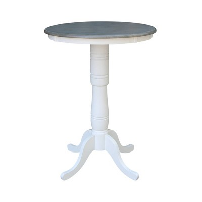 Ronin Round Pedestal Table White/Heather Gray - International Concepts