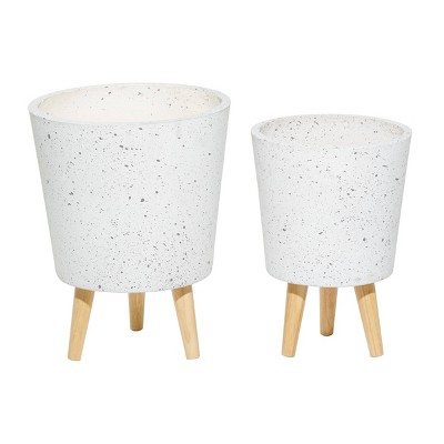 Set of 2 Contemporary Wood Planters - Olivia & May