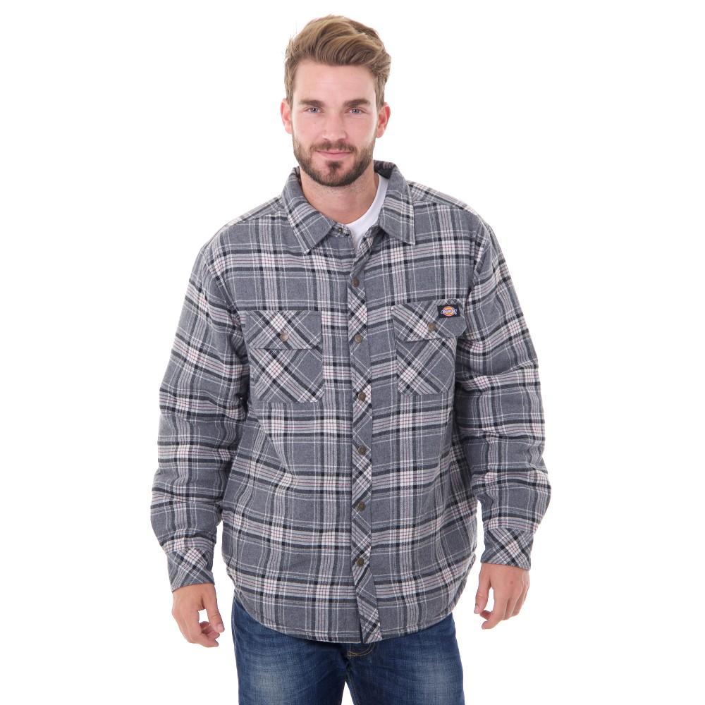 Dickies Men's Sherpa Lined Shirt Jackets - Charcoal/Black (Grey/Black) 862 L