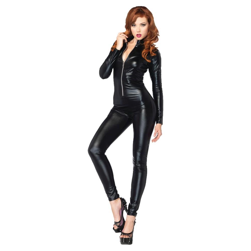 Women's Catsuit Zip Front Costume - Medium, Black