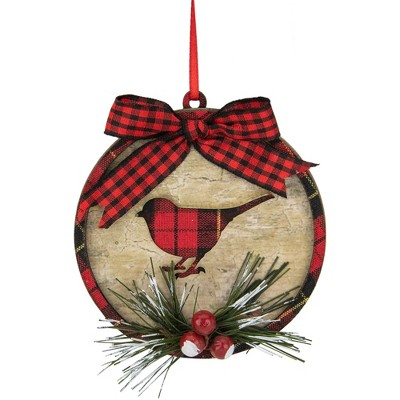 """Northlight 4"""" Red and Black Plaid Cardinal with Holly Berries Christmas Ornament"""