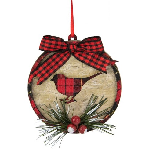 Northlight 4 Red And Black Plaid Cardinal With Holly Berries Christmas Ornament Target