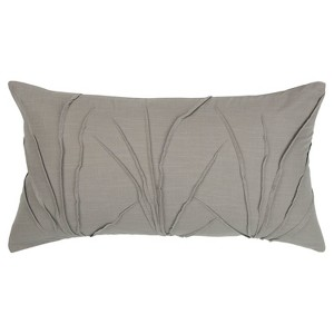 Textured Solid Decorative Filled Oversize Lumbar Throw Pillow Gray - Rizzy Home