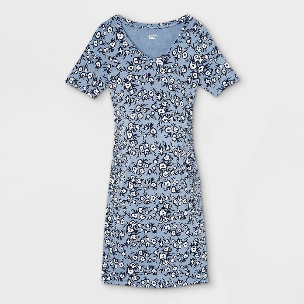 Floral Print Short Sleeve Side Shirred Maternity Dress Isabel Maternity By Ingrid 38 Isabel 8482 Blue L