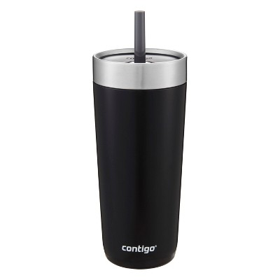 Contigo 18oz Stainless Steel Luxe Tumbler with Spill-Proof Lid and Straw Black