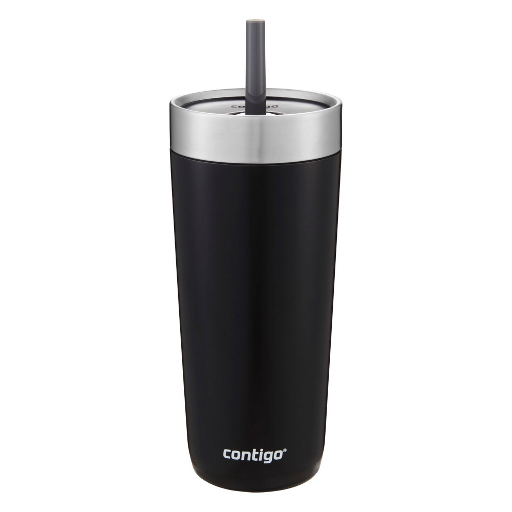 Image of Contigo 18oz Stainless Steel Luxe Tumbler with Spill-Proof Lid and Straw Black