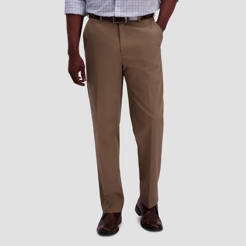 Haggar Mens Premium No Iron Khaki Slim Fit Flat Front Casual Pant