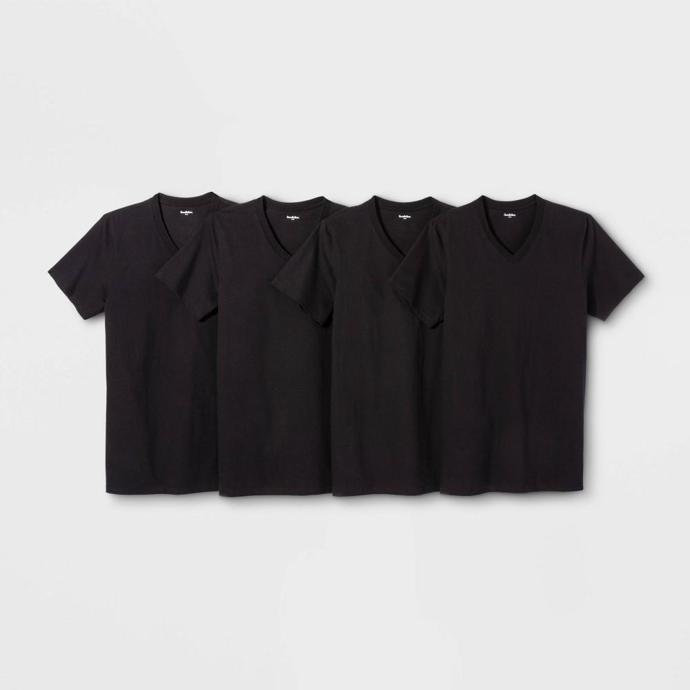 Men's 4pk V-Neck T-Shirt - Goodfellow & Co Black M