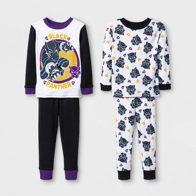 Toddler Boys' Marvel Black Panther 4pc Pajama Set - Black 2T