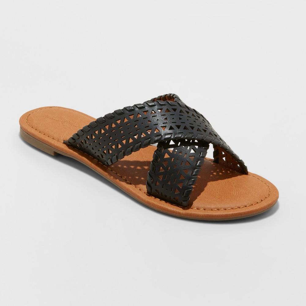Women's Willow Laser Cut Crossband Slide Sandals - Universal Thread Black 6