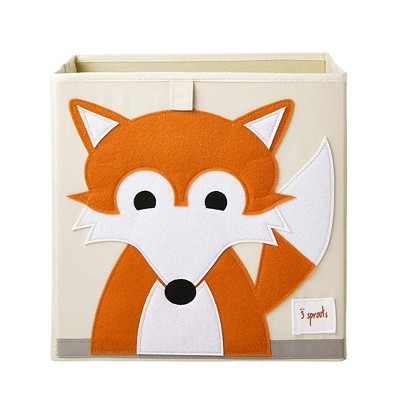 3 Sprouts Kids Childrens Collapsible Fabric 13x13x13 Inch Storage Cube Bin Box for Cubby Shelves, Orange Fox