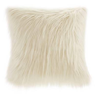"20""x20"" Adelaide Faux Fur Square Throw Pillow Ivory"