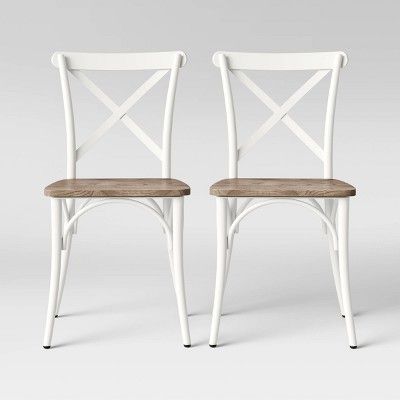 Set of 2 Malden French Bistro Dining Chair with Wood Seat Sour Cream - Threshold™