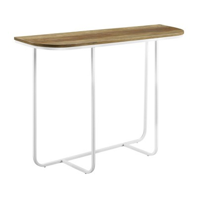 Modern Glam Curved Entryway Table with Faux Marble and Metal - Saracina Home