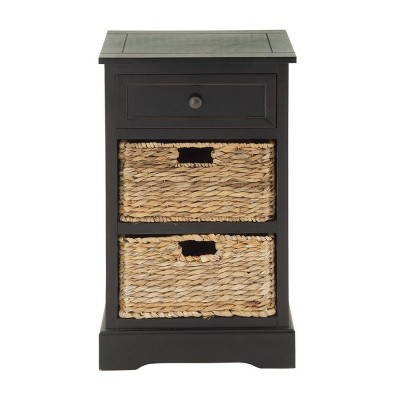 Farmhouse Wooden Chest with Wicker Basket Drawers Black - Olivia & May
