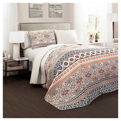 Nesco Quilt 3 Piece Set (Full/Queen)Navy/Coral - Lush Décor
