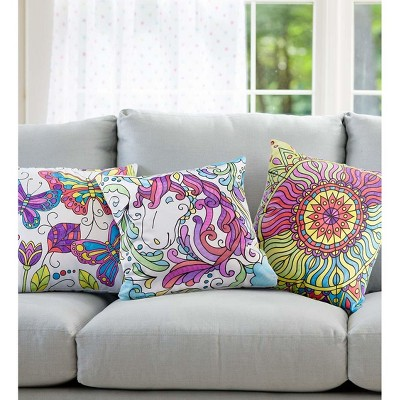 """HearthSong Color Pops Color-Your-Own Pillow Kit for Kids, 15"""" sq. Pillow Cover, Pillow Insert, and Six Washable Markers"""
