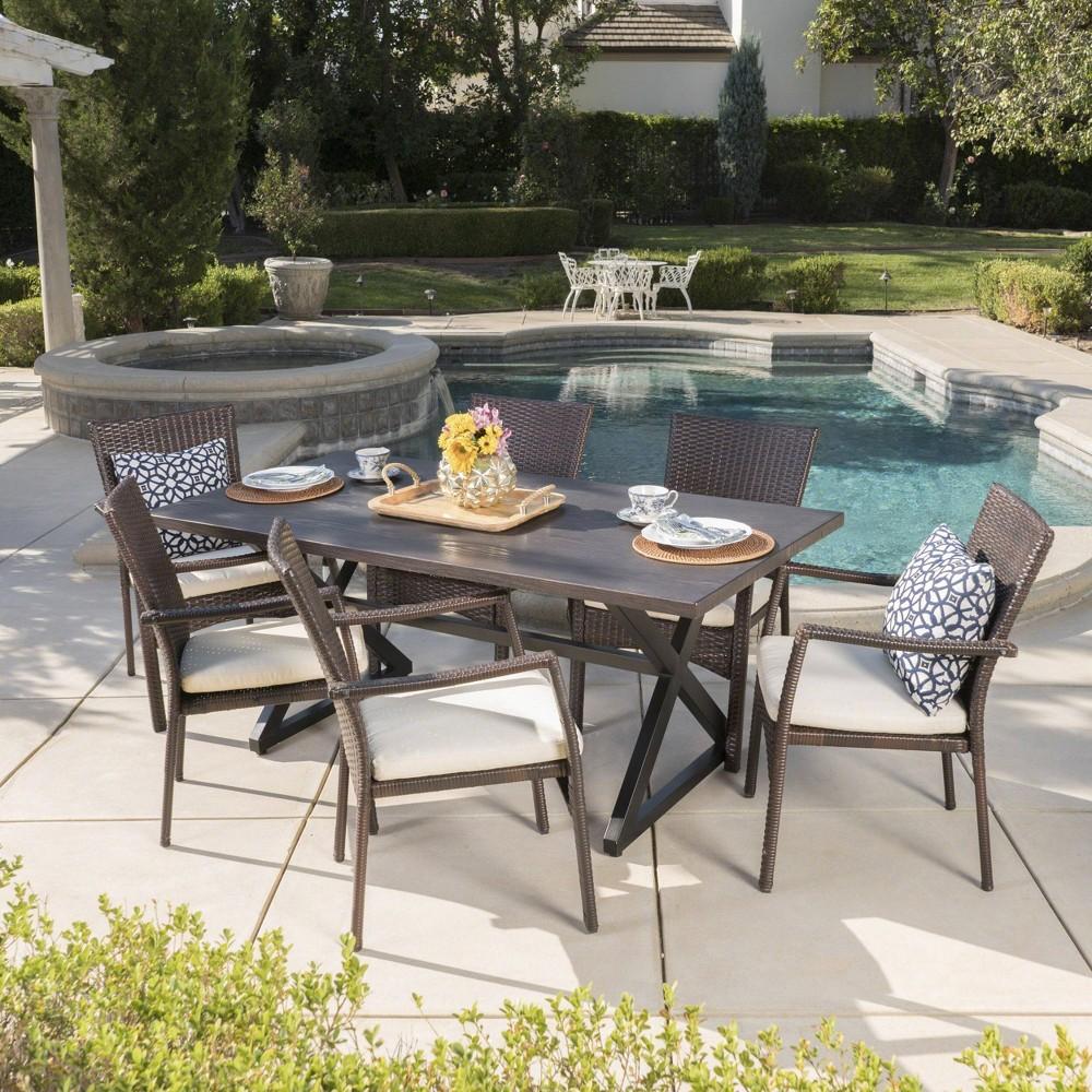 Adina 7pc Aluminum & Wicker Patio Dining Set - Brown - Christopher Knight Home