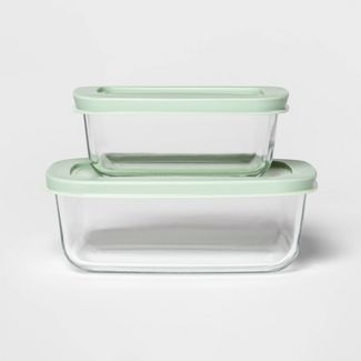 3 Cup & 2 Cup Rectangular Food Storage Container Set Mint - Room Essentials™