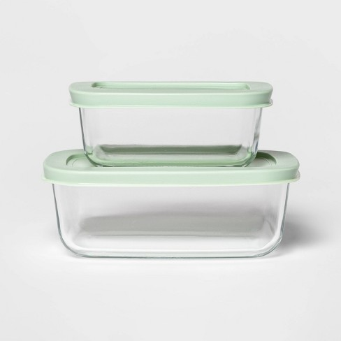 3 Cup & 2 Cup Rectangular Mint Food Storage Container Set - Room Essentials™ - image 1 of 2