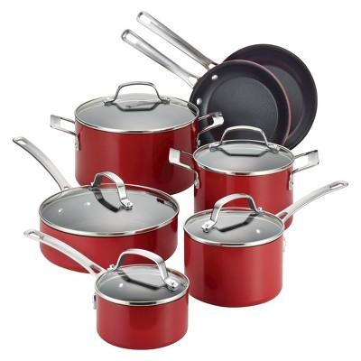 Circulon Genesis 12 Piece Aluminum Cookware Set - Red