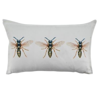 """12""""x20"""" Bees Poly Filled Throw Pillow White - SARO"""
