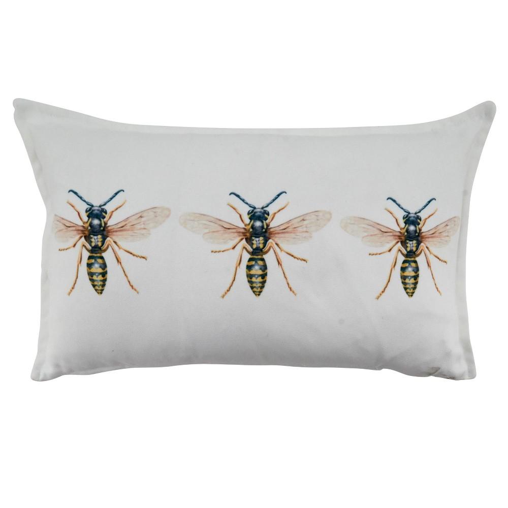 12 34 X20 34 Bees Poly Filled Throw Pillow White Saro