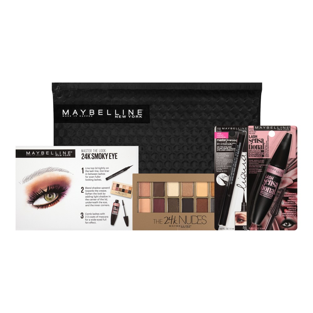Maybelline NY Minute Mascara Smoky Eye Makeup Kit 24K Smoky Eye 1 kit, Multi-Colored