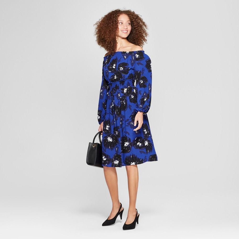 Women S Printed Off The Shoulder Dress A New Day 8482 Black Blue Xs