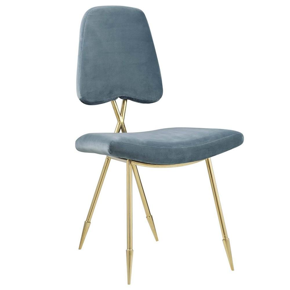 Ponder Upholstered Velvet Dining Side Chair Sea Blue - Modway