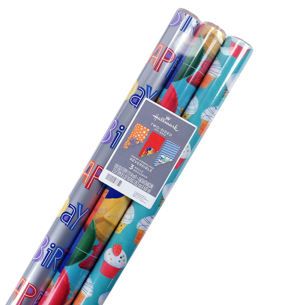 Image of 3ct Reversible Kids Wrapping Paper
