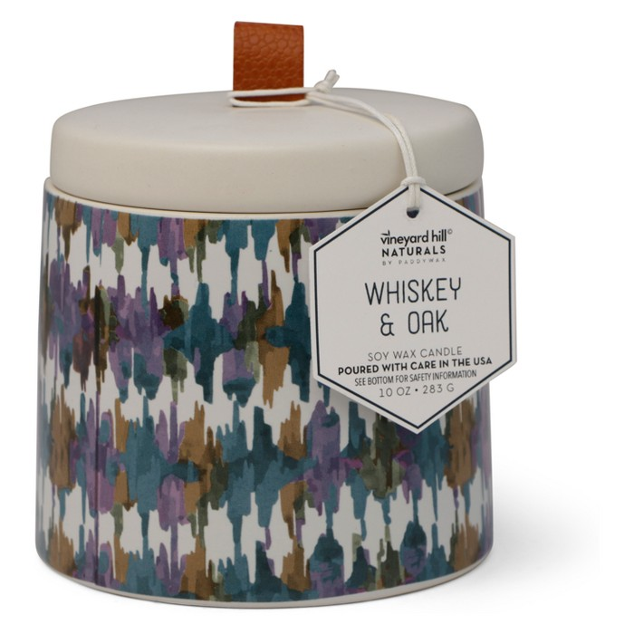 10oz Ikat Ceramic Jar Candle Whiskey & Oak - Vineyard Hill Naturals By Paddywax - image 1 of 2