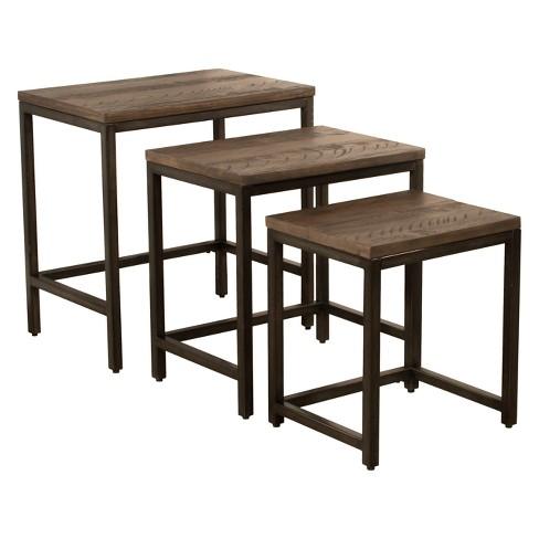 Castille Nesting Tables Set Of Three Metal Textured Black Distressed Walnut Hilale Furniture