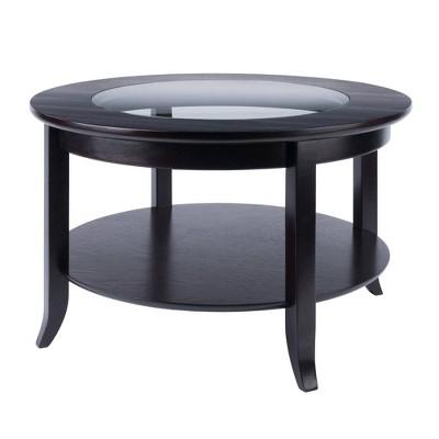 Genoa Coffee Table, Glass Inset and Shelf - Dark Espresso - Winsome