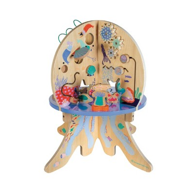 Manhattan Toy Deep Sea Adventure Wooden Toddler Activity Center with Clacking Clams, Spinning Gears, Gliders and Bead Runs