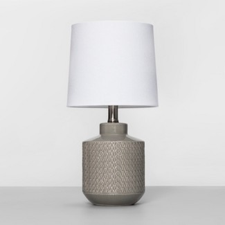 Pattern Ceramic Table Lamp Gray (Includes Energy Efficient Light Bulb) - Project 62™
