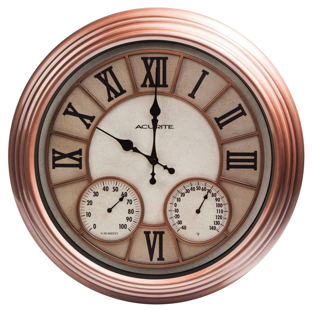 Image of 18 Metal Outdoor / Indoor Wall Clock with Thermometer and Humidity - Copper Finish - Acurite, Brown