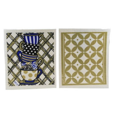 """Swedish Dish Cloth 7.75"""" Teacups & Classic Gold Cloths Absorbant Cleaning  -  Dish Cloth"""
