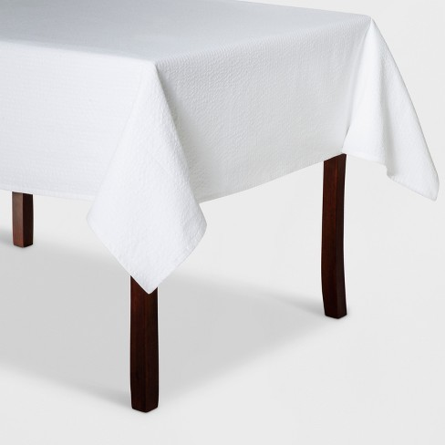 "84""x60"" White Seer Sucker Tablecloth White - Threshold™ - image 1 of 1"