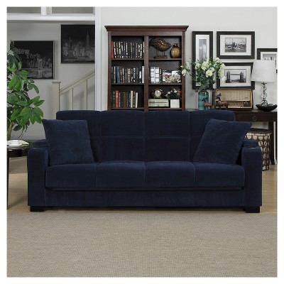 Exceptionnel Susan Velvet Convert A Couch Storage Arm Futon Sofa Sleeper   Handy Living  : Target