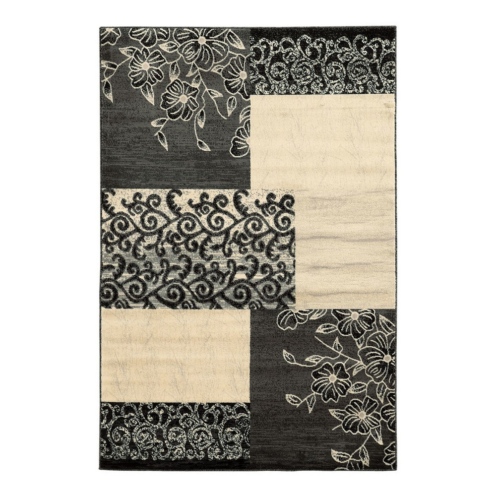 Black/ivory Mosaic Design Loomed Area Rug 8'X10' - Linon