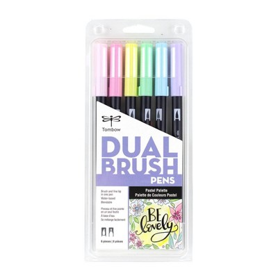 6pk Dual Brush Pen Art Markers Pastel Palette - Tombow