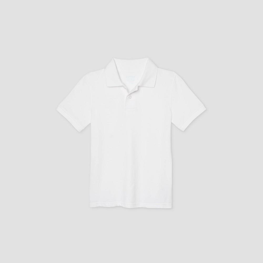 oversizeBoys Short Sleeve Stretch Pique Uniform Polo Shirt - Cat & Jack White L Husky
