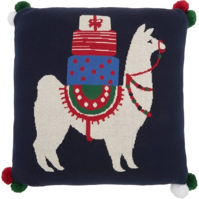 "20""x20"" Holiday Llama Throw Pillow Black - Mina Victory"