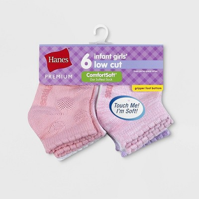 Hanes Premium Baby Girls' 6pk Low Cut Comfortsoft Socks - Colors May Vary 6-12M