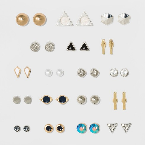 Stone With Bar And Triangular Icons Multi Earring Set 18ct Wild Fable