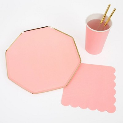 Meri Meri - Neon Pink Party Supplies Collection (Plate, Napkin, Cup) - Set of 8